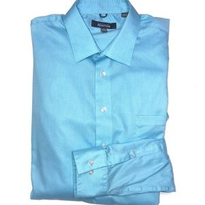 Kenneth Cole Reaction Aqua Blue Button Up XXL